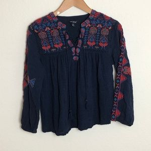 Lucky Brand | Blue Embroidered Peasant Top